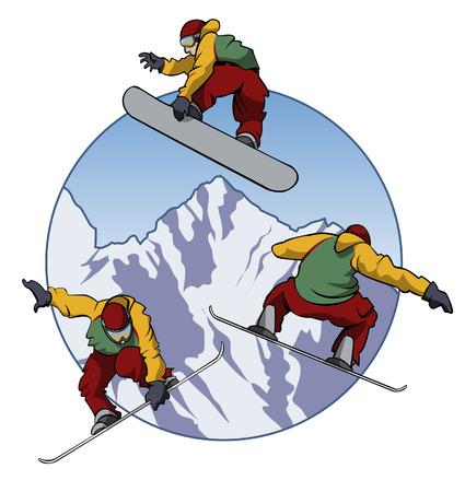 Illustratie van een snowboarder doen slagen - drie verschillende stand punten - Cartoon stijl Stock Illustratie