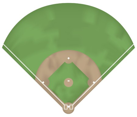 bases: Illustration of a baseball ground. Above view