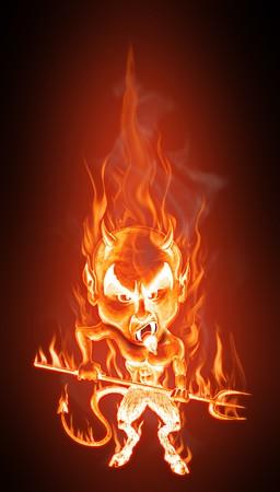 Groteske karikatuur van een boze brandende duivel. Cartoon stijl - realistische vlammen effect