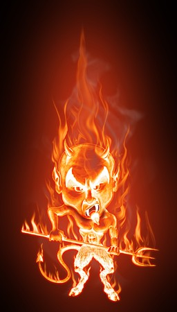 Grotesque caricature of an angry burning devil. Cartoon style - Realistic flames effect photo