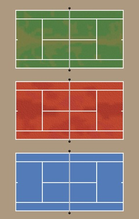 Three tennis courts - View from above.Top court: grass - Middle court: Clay - Bottom court: Asphalt photo