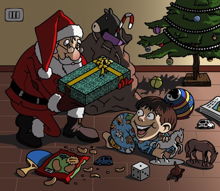 Cartoon-style illustration. Christmas scene: Santa Claus brings a wonderful gift to a cute kid, playing on the floor with his toys Stock Illustration - 8109533