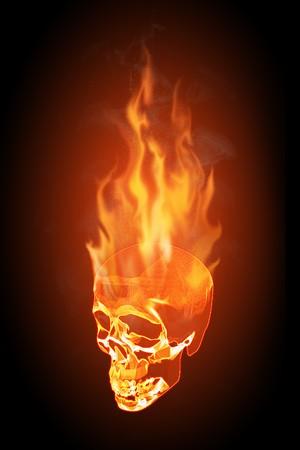Realistic illustration of a flaming skull on black background illustration