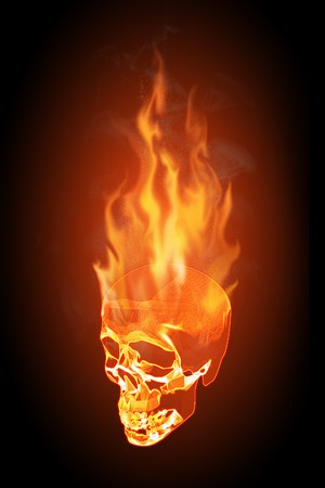 Realistic illustration of a flaming skull on black background