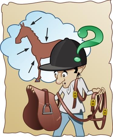 cavalier: Funny cartoon illustration - An inexperienced horse-rider doesnt know how to prepare his horse for riding Stock Photo