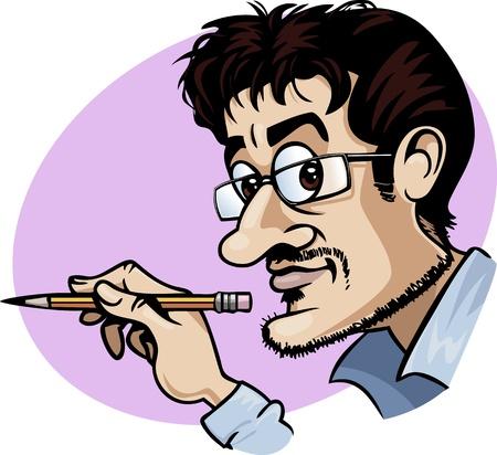 lapiz cartoon: Caricatura de un dibujante de historietas sonriente sosteniendo un l�piz amarillo - estilo de dibujos animados