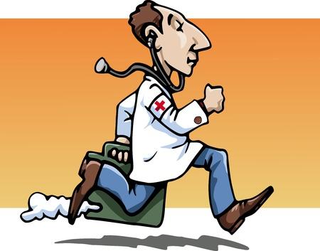 Cartoon-stijl illustratie: een grappige running arts, dragen een whitecoats, brengen de zak van zijn werken. Een stethoscoop opknoping van zijn oren. Rode Kruis op zijn mouw. Oranje achtergrond Stockfoto