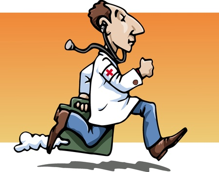 Cartoon-style illustration: a funny running doctor, wearing a whitecoat, bringing his working bag. A stethoscope hanging from his ears. Red cross on his sleeve. Orange background illustration