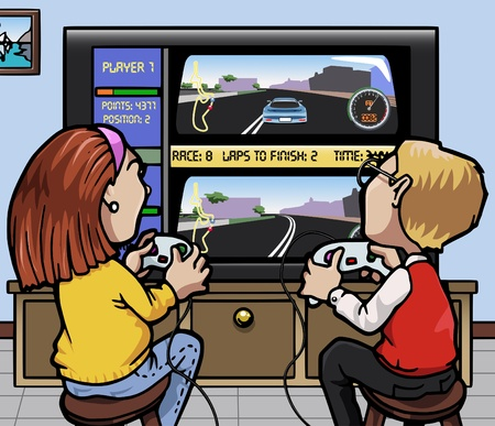 videogame: Cartoon-style illustration: two kids (one girl, one boy) playing a car racing videogame on a huge screen