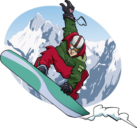 freetime: Cartoon-style illustration: a snowboarder is jumping. He wears a red and green suit. Snowy mountains on the background.