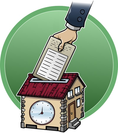 Cartoon style illustration about working at home: a hand is punching a house-shaped clock illustration