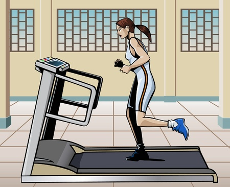 footing: Illustration of a young woman running on a treadmill in a modern gym Stock Photo