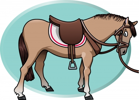 saddle: Cartoon-style illustration of a cute brown horse with saddle and reins. An aquamarine oval shape on the background