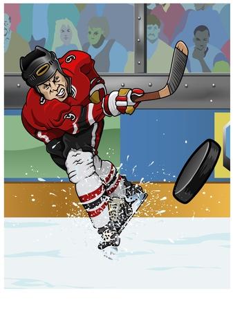 Cartoon-stijl illustratie: een hockey speler maken een slapshot