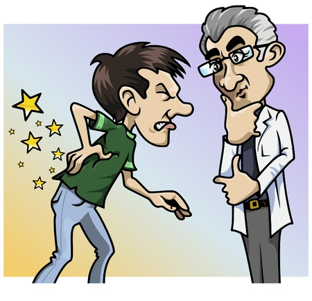 Cartoon-style illustration: a patient with a terrible backache, the doctor by his side illustration