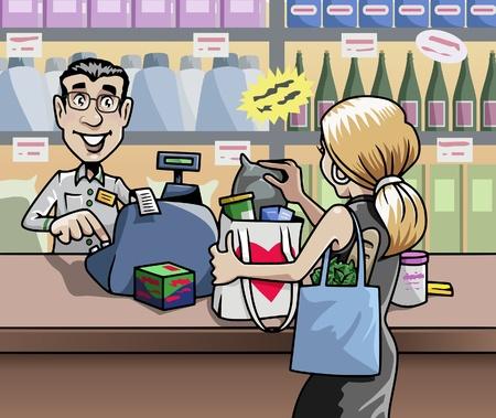 Cartoon-stijl illustratie: een blonde vrouw in een winkel, in de voorkant van de balie van de verkoper