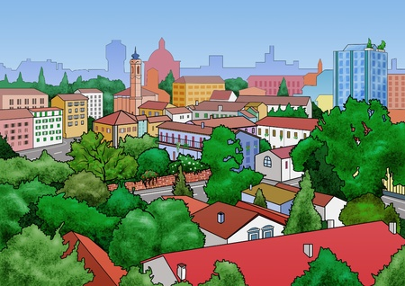 overlook: Illustration of a small town landscape. View from above