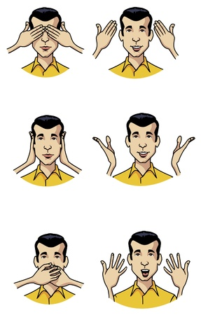 he is different: Cartoon-style illustration:six different moments of the same man.  As the famous three monkeys, in the past he didnt see, he didnt hear and he didnt speak. Now hes aware and does all of those actions Stock Photo