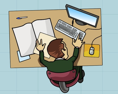 Cartoon-style illustration: an employee is working at his table with computer and papers. View from above illustration