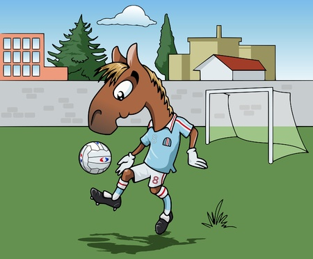 Cartoon-style illustration: Cute young horse is playing soccer. Hes wearing a light blue jersey.  Town on the background illustration