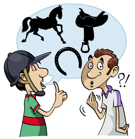 slang: Cartoon-style illustration: a young horseman speaks using equestrian slang. The interlocutor doesnt understand Stock Photo