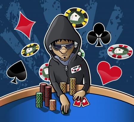 Cartoon-stijl illustratie: jonge pokerspeler met kap, brillen en hoofdtelefoons houden wat chips. Grunge donkere achtergrond met chips en kaart kostuums Stockfoto