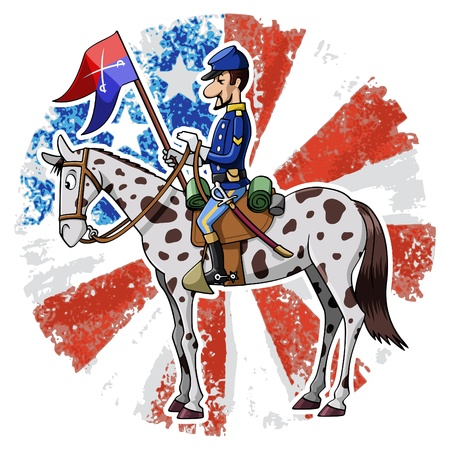 cavalry: Cartoon-style illustration: United States Cavalry soldier riding his horse. American grunge flag on the background