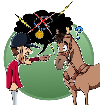 Cartoon-stijl illustratie: een boos ruiter zijn paard de schuld geeft voor de nederlaag