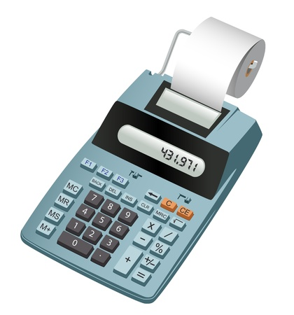 Realistische illustratie van een elektronische rekenmachine met papierrol. Geà ¯ soleerd op wit Stockfoto