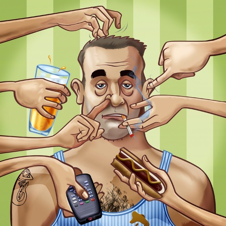 scruffy: Cartoon-style illustration. A scruffy fat tattooed man surrounded by seven hands, scratching him or holding some objects: a glass of beer, a remote control, a hot dog and a cigarette