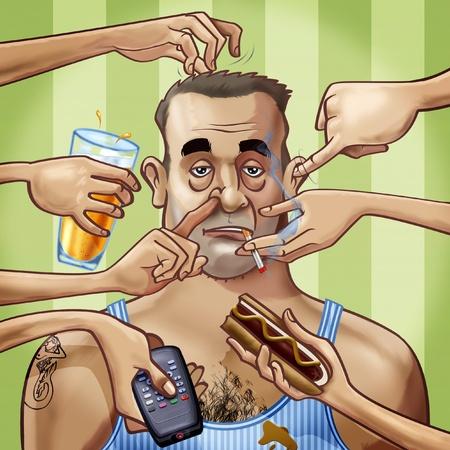 hombre fumando: De dibujos animados al estilo de ilustración. Un desaliñado hombre tatuado de grasa rodeada por siete manos, rascarse él o la celebración de algunos objetos: un vaso de cerveza, un mando a distancia, un perro caliente y un cigarrillo Foto de archivo