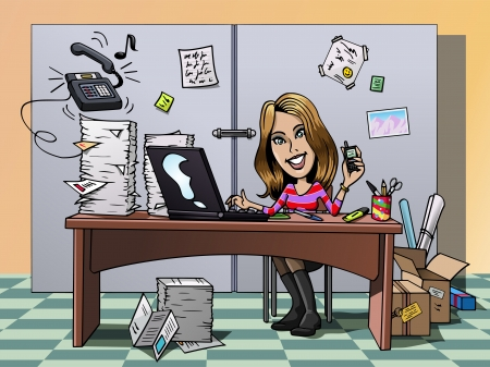 Cartoon-style illustration: a busy smiling young employee in her office, working hard illustration