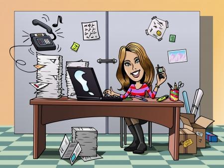 secretaria: De dibujos animados al estilo de la ilustración: una ocupada empleado joven y sonriente en su oficina, trabajando duro