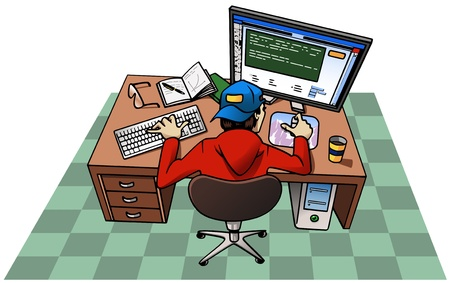 mousepad: Cartoon-style illustration: a young man wearing a baseball cap is working at his computer. On the desk: book and notepad with pen, cup of coffee, eyeglasses, keyboard, mouse-pad, monitor