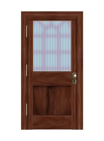 Realistic illustration of a wooden door with frosted glass panelIsolated on white background