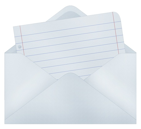 Envelope with paper sheet - Realistic illustration - Isolated on white illustration