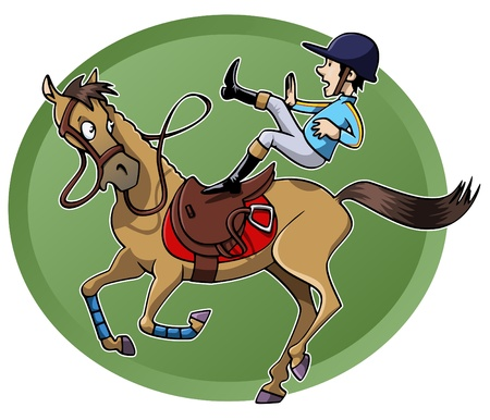 Funny cartoon-style illustration  a rider is unsaddled from his galloping horse  Green oval shape on the background