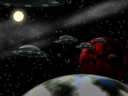 space wars: Realistic illustration  science fiction scene from the outer space Stock Photo