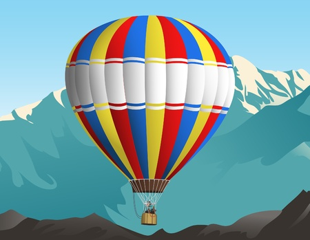 overlook: Illustration of an air balloon travelling in the sky  Mountains on the background