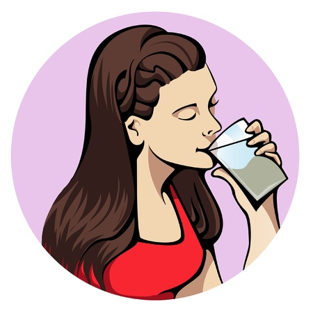 quench: Illustration of a young attractive woman drinking a glass of water