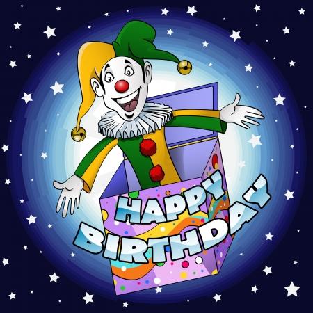 giullare: Cartoon in stile illustrazione di un giullare divertente saltare fuori una scatola regalo scrivere buon compleanno
