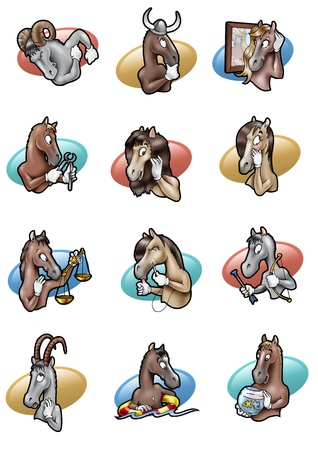 Cartoon-style humorous illustration of the twelve signs of horoscope  as horses illustration