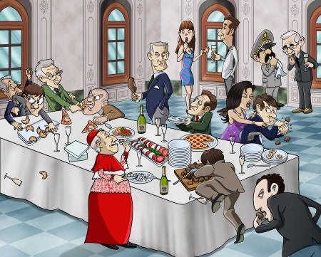 greedy: Cartoon-style illustration of a bizarre buffet meal  grotesque characters eating and fighting for foodLocation  luxury hall