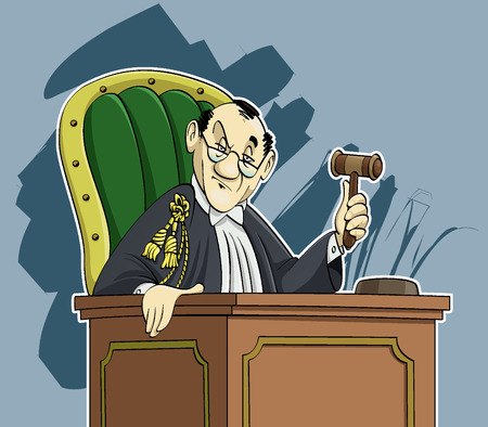 prosecutor: Cartoon-style illustration: an austere judge staring at the observer