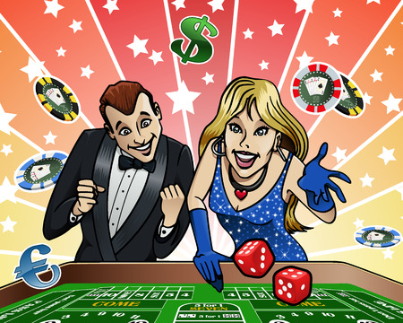 Cartoon-style illustration: a young couple playing dice at the Casino Vector