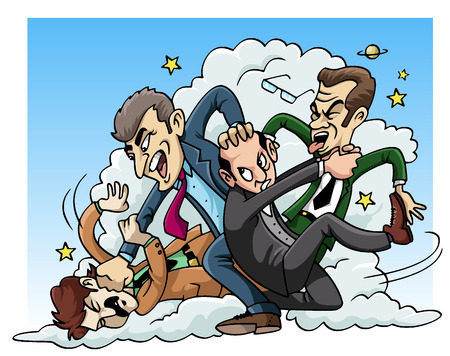 Cartoon illustration: four men fighting
