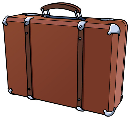 valigia: Illustration of a brown suitcase - Isolated on white Vettoriali