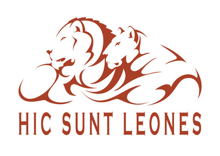 merciless: Graphic artwork: a couple of lions Writing: Hic sunt leones (Latin phrase meaning Here are lions, expression used in ancient maps referring to unexplored territories) Stock Photo