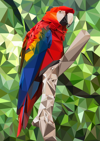 Illustration of an Ara Parrot - Low poly technique