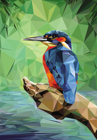 Illustration of a Kingfisher, low poly technique.